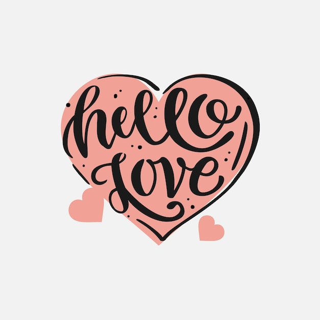 Logo pour happy valentine's day. phrase de lettrage sur l'amour. texte de calligraphie manuscrite et forme de coeur.