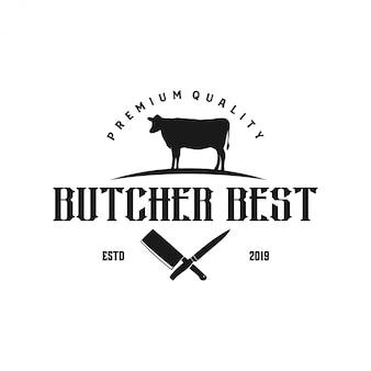 Logo pour magasin de boeuf avec des éléments de couteau