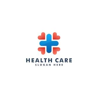 Logo pour les soins de santé médicaux. croix plus logotype médical