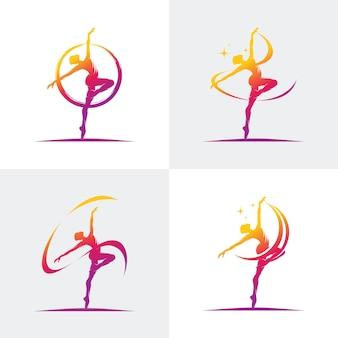 Logo Pour Un Studio De Ballet Ou De Danse Vecteur Premium
