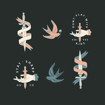 Logo premade avec poignard. graphique de logo personnalisable, design dessiné à la main avec typographie. épée, arme