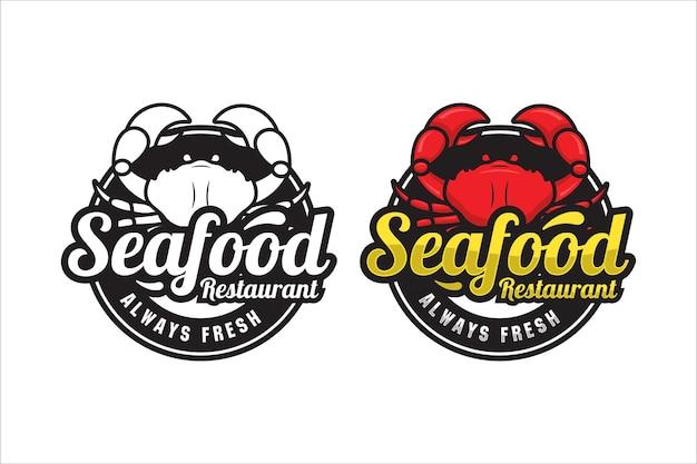 Logo premium de crabe de restaurant de fruits de mer