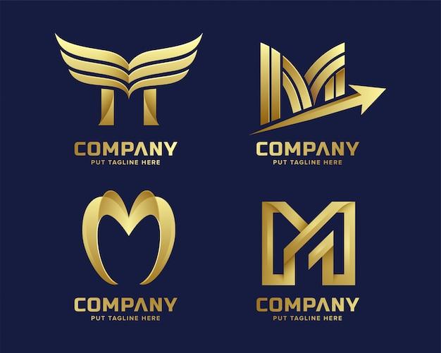 Logo premium lettre m en or pour entreprise