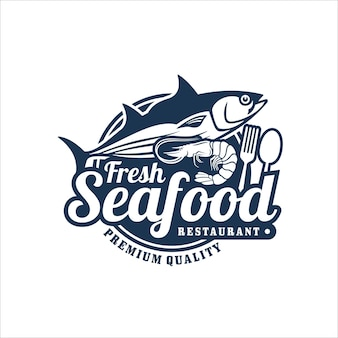 Logo premium de restaurant de fruits de mer frais
