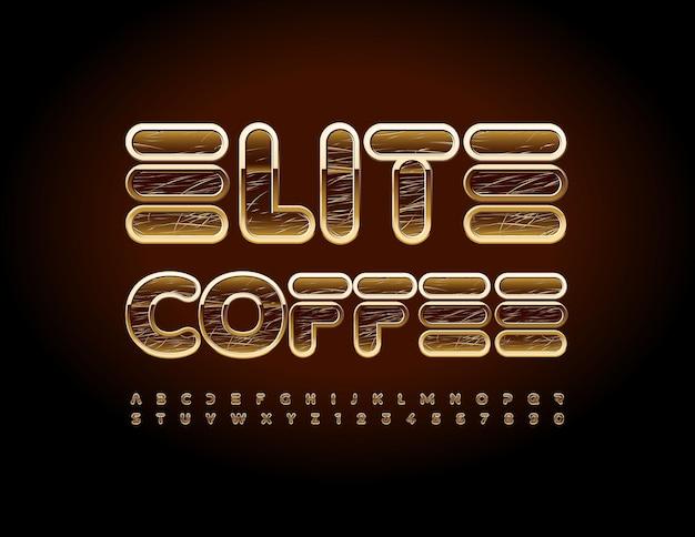 Logo premium vectoriel elite coffee scratched alphabet letters and numbers set police de style de luxe