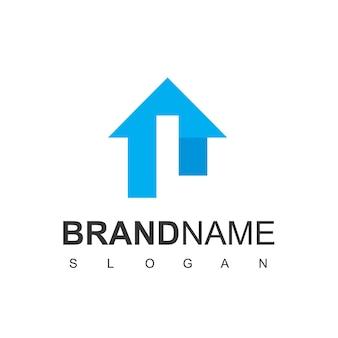 Logo de prêt à domicile avec le symbole de la lettre l silhouette