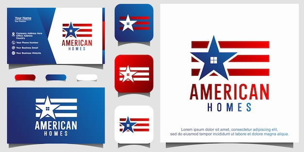 Logo de prêt immobilier maison drapeau américain