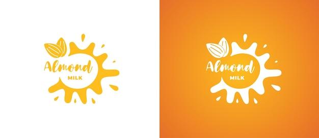 Logo de produit de lait d'amande. conception de logotype d'identité de marque végétarienne biologique naturelle naturelle non lactique. signe végétalien d'éclaboussure de produits laitiers eco pour les illustrations vectorielles eps de marque de l'entreprise