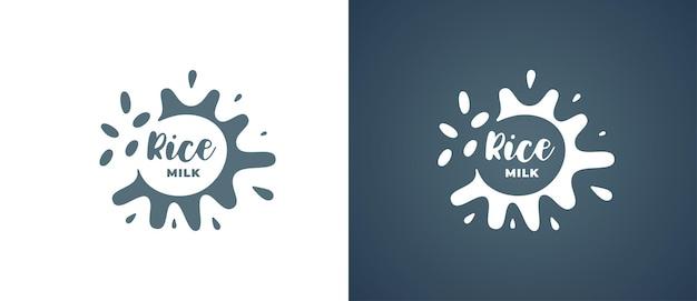 Logo de produit de lait de riz. conception de logotype d'identité de marque végétarienne biologique naturelle naturelle non lactique. grain végétalien eco laitier splash signe pour les illustrations vectorielles eps de marque de l'entreprise