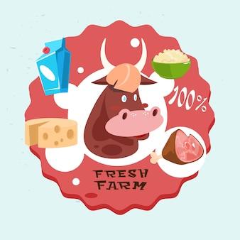 Logo de produits laitiers de vache fresh eco farm