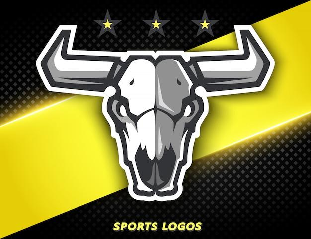 Logo professionnel pour équipe sportive, le crâne d'un taureau. mascotte sportive.