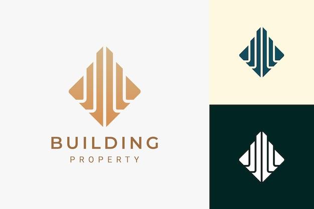 Logo de propriété ou d'appartement pour l'immobilier dans le luxe et la forme abstraite