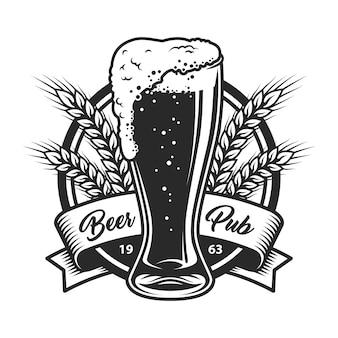 Logo de pub de bière monochrome vintage
