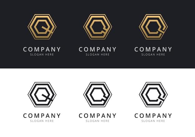 Logo q initial à l'intérieur de la forme hexagonale de couleur or et noir