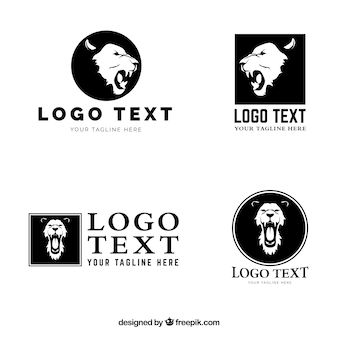 Logo de quatre lion, différentes compositions
