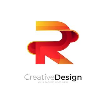 Logo r abstrait et design coloré 3d