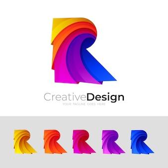 Logo r abstrait et illustration de conception colorée, 3d coloré