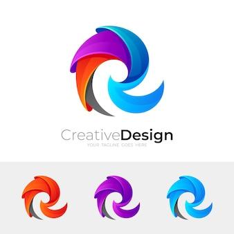 Logo r avec modèle de conception colorée