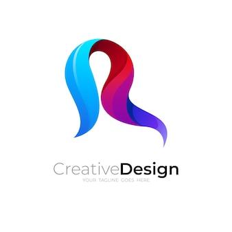 Logo r simple avec des icônes colorées, style 3d