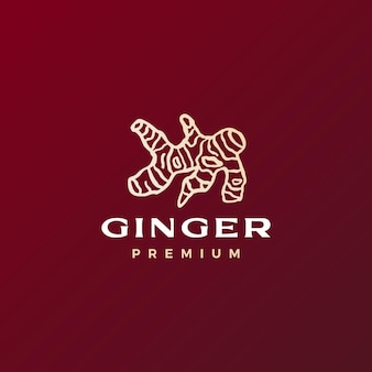 Logo de racine de gingembre rouge icône vector illustration