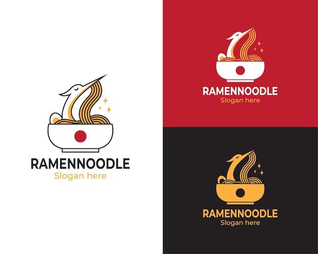 Logo ramen avec cigogne