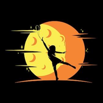 Logo reach dreams avec symbole de la lune, logo reaching star