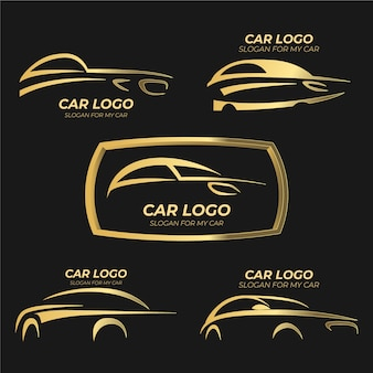 Logo réaliste avec des voitures métalliques
