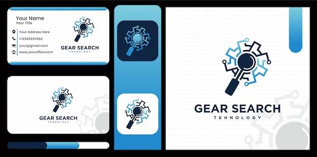 Logo de recherche d'engrenage roue dentée, loupe d'engrenage