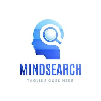 Logo de recherche d'esprit dégradé avec slogan