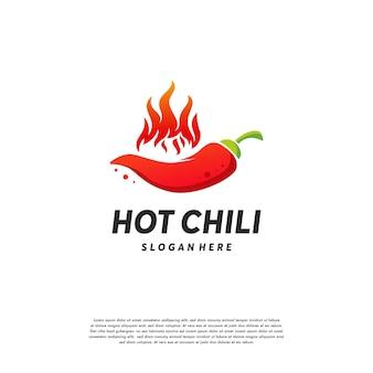 Le logo de red hot chili conçoit le vecteur de concept, le modèle de conceptions de logo de poivre épicé