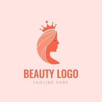 Logo de reine de femme féminine de beauté avec la couronne