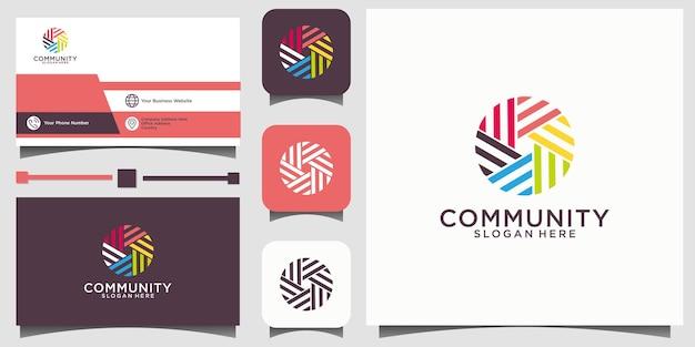 Logo de relation sociale et carte de visite vectoriel