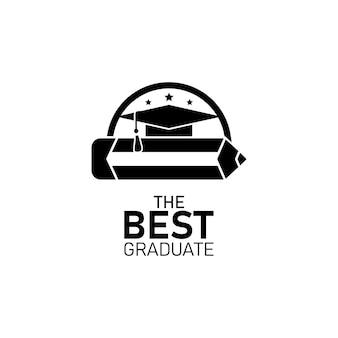Logo de remise des diplômes avec un crayon et un design plat en toge