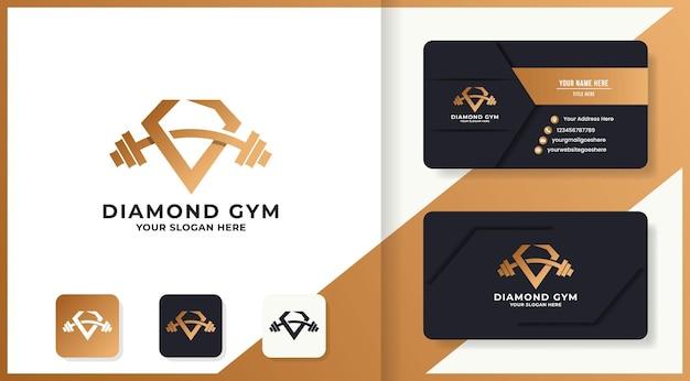 Logo de remise en forme diamant avec lettre abstraite v et conception de carte de visite