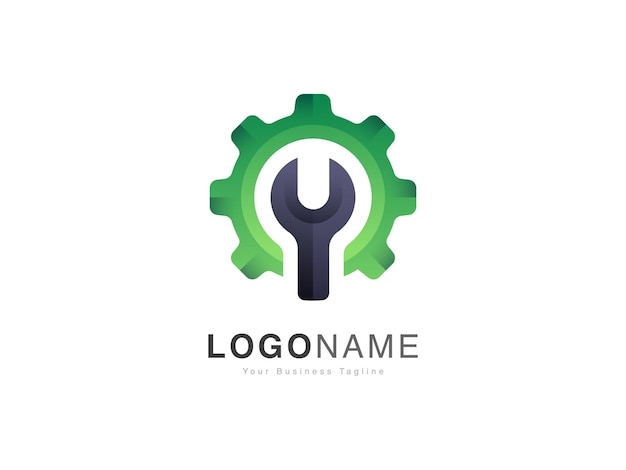 Logo de réparation automobile d'entretien moderne avec un design de style engrenage et clé