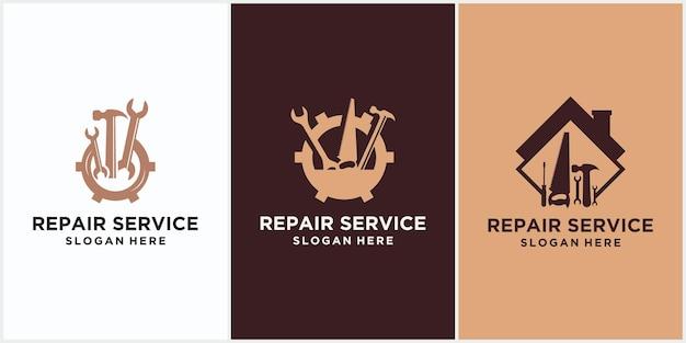 Logo de réparation à domicile, logo de réparation à domicile. insigne d'outil de rénovation domiciliaire. icône de boîte à outils maison. signez la clé et le tournevis. réparation et rénovation. symbole de service d'entretien.