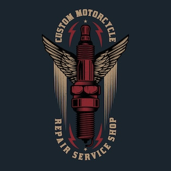 Logo de réparation de moto vintage