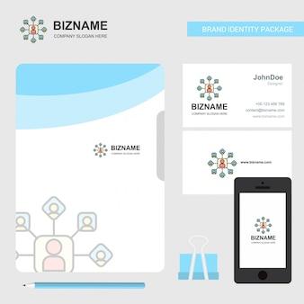 Logo de réseau d'entreprise, carte de visite avec couverture de fichier et application mobile