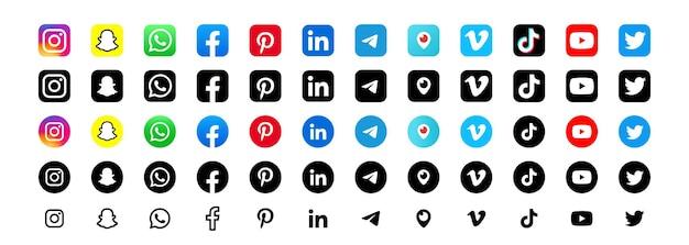 Logo de réseau social populaire. signe de réseau social. icônes de médias sociaux plats. ensemble réaliste. interface utilisateur ui ux blanche. logo
