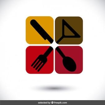 Logo restaurant carrés arrondis