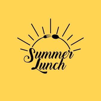 Logo de restaurant d'été avec cuillère et fourchette formant un demi-cercle de soleil