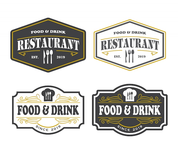 Logo de restaurant, logo élégant de nourriture et de boisson