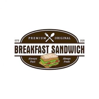 Logo de la restauration rapide sandwich burger pour le restaurant servant des plats et boissons - café