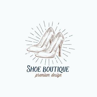 Logo rétro de la boutique de chaussures