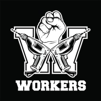 Logo rétro des travailleurs avec la main, lettre de forage w, fête du travail, fond noir