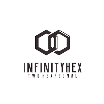 Logo rétro vintage infini hexagone illustration