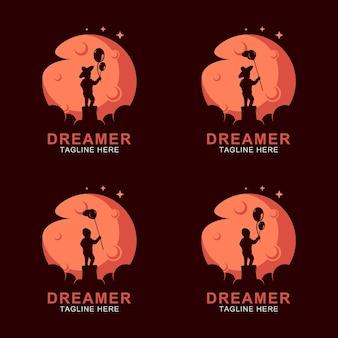 Logo de rêve de garçon sur la lune