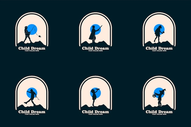 Le logo de rêves d'enfant conçoit le vecteur de concept, symbole de logo d'éducation d'enfants, enfants atteignant l'étoile