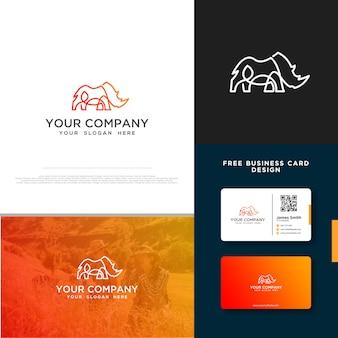 Logo rhino avec conception de carte de visite gratuite