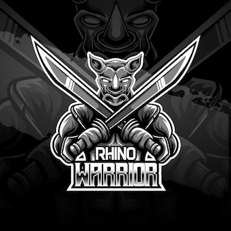 Logo de rhino guerrier